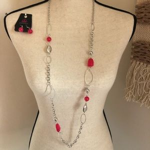 Long silver necklace with pink accents & earrings